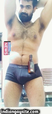 Indian Gay Bear Shows Sexy Naked Hairy Body