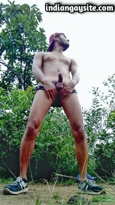 Horny Gay Hunk Wanks Hard Dick Outdoor