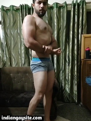 Muscle gay porn of sexy desi hunk posing