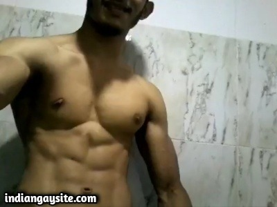 Muscular hunk gay video of big dick wanking