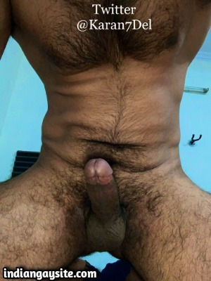 Naked hairy hunk showing off big hard cock