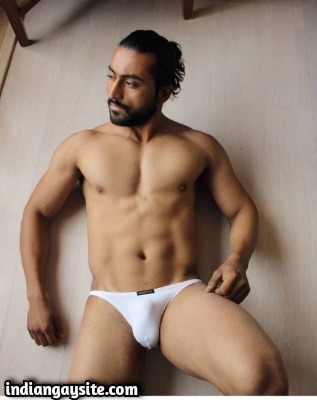 Muscular Nude Hunk in Tiny Briefs Shows Smooth Body