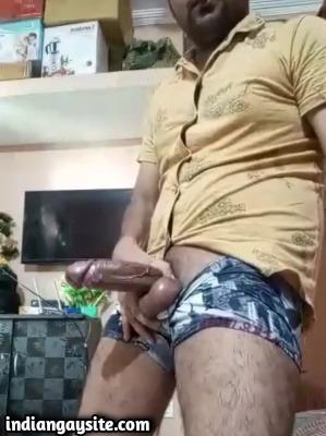 Huge veiny uncut cock of sexy Indian hunk