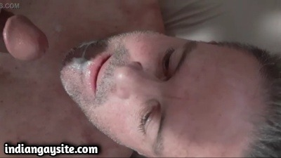 White gay daddy gets an Indian cum facial