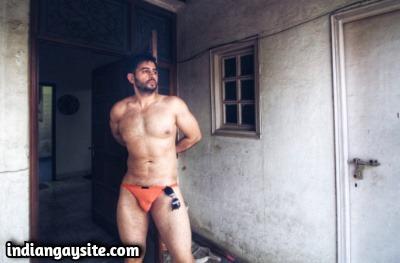 Desi gay pics of a slutty muscular hunk in briefs