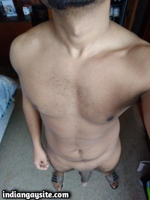 Naked gay twink playing big and hard cut cock