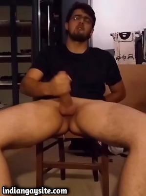 Gay geek porn of sexy guy's big hard cock