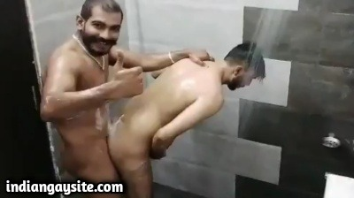 Gay shower fuck between two sexy nude hunks