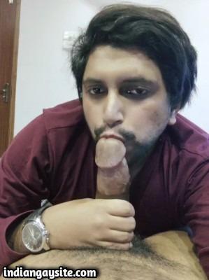 Gay thick cock sucker enjoying wild fun