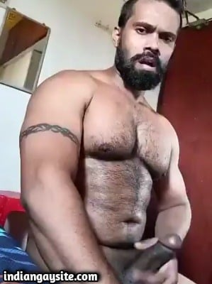 Gay thick cock video of hunk masturbating wildly