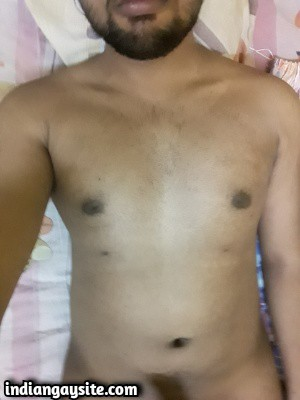 Naked young boy from Indian shows thick dick