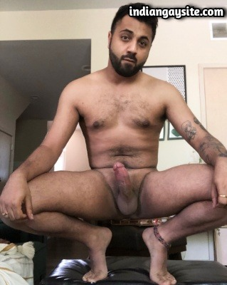 Naked Pakistani hunk showing thick cock & tight ass