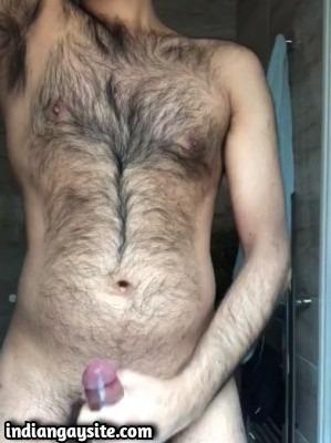 Hairy hunk cumshot video of wild orgasm