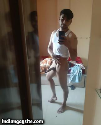 Nude muscle hunk teasing sexy body & hard cock