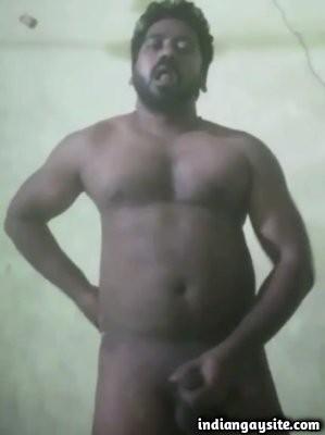 Horny gay daddy masturbating hard on cam