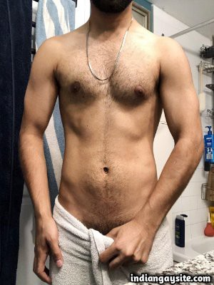 Naked Indian twink teasing sexy body in undies