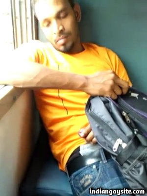 Gay exhibitionist video of slutty desi man in train