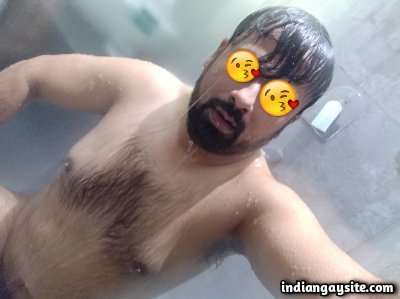 Naked Indian bear teasing hot and hairy wet body
