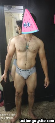 Naked Indian man showing sexy body and big cock