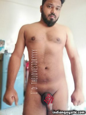 Naked desi bear teasing sexy and stocky bare body