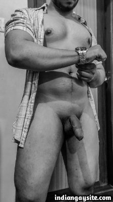 Naked desi stud showing off his dick getting hard