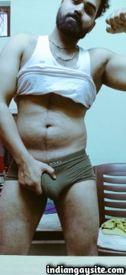 Hairy Indian stud teasing big and hard bulge in briefs