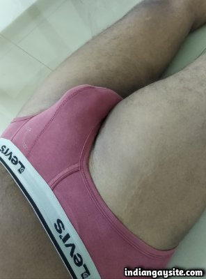 Naked horny daddy shows bulge and dick in briefs