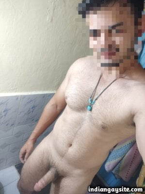 Nude hunk pics of a hot man's thick cut penis