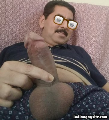 Naked horny daddy teases thick dick and smooth ass