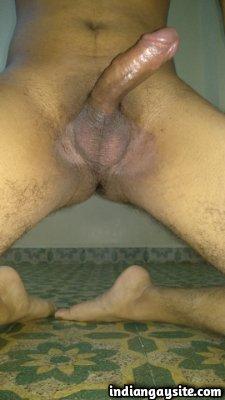 Hard naked boy teasing big and juicy hard cock