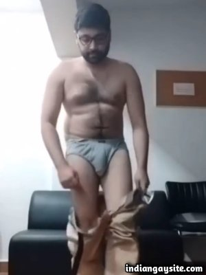 Gay bear daddy stripping naked in office
