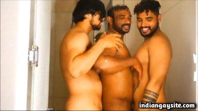 Gay hunks threesome with Charan Bhangaram in shower