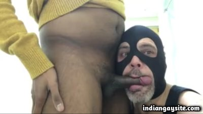 Gay white daddy swallowing fresh desi cum