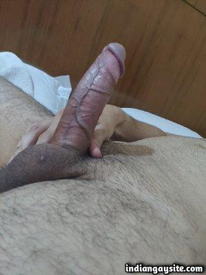 Hard dick pics of circumcised hunk's veiny cock