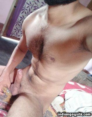 Uncircumcised naked man shows big hard dick