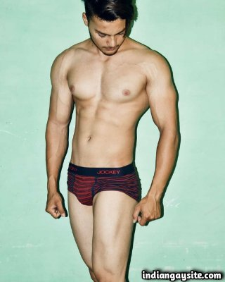 Muscular briefs model posing with sexy undies