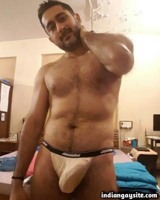 Naked fit hunk trying out different sexy briefs