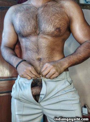 Hairy muscular hunk teasing juicy hard boner