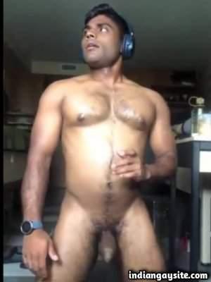 Desi muscle hunk wanking big dick and fingering