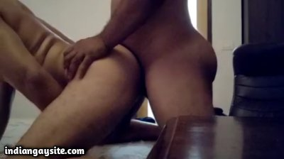 Naked horny daddy fucking his date doggy style
