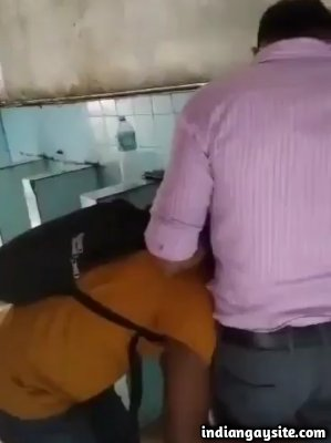 Toilet gay blowjob with a slutty Indian man