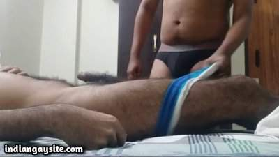 Gay massage handjob pics of a hairy daddy