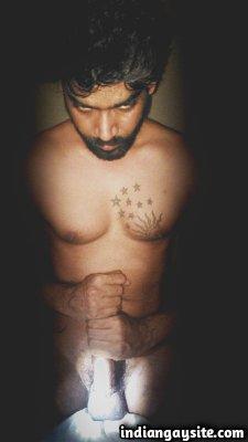 Naked tamil hunk teases hard juicy cock