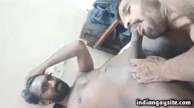 Drunk gay guys enjoying a lazy blowjob