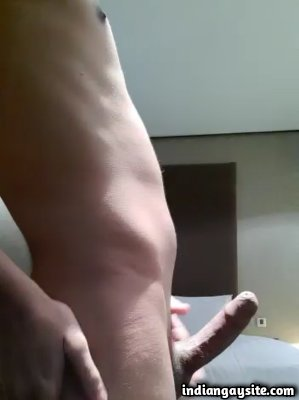 Horny desi boy playing with dick and body in hotel