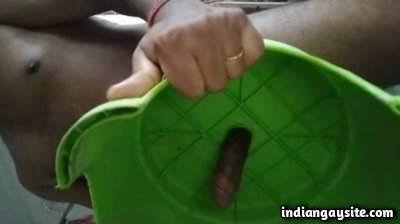 Indian horny hunk fucks a stool and cums hard