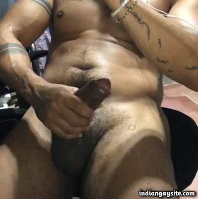 Indian horny hunk masturbating and cumming