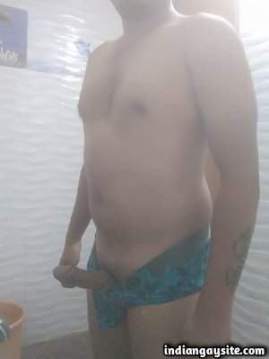 Indian horny hunk teasing his big hard boner