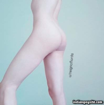 Naked young twink shows sexy smooth ass cheeks