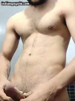 Horny wanking hunk from Delhi playing with dick
